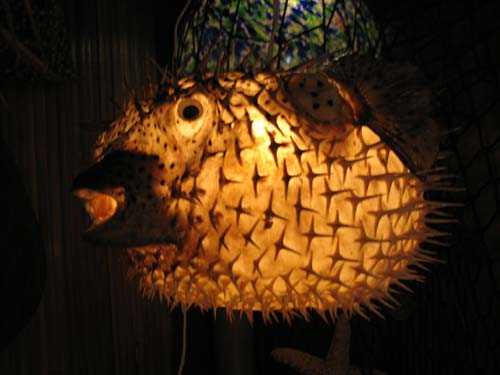 Large puffer fish tiki bar lamp for sale for Puffer fish lamp
