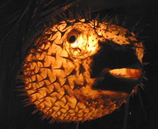 Large Puffer Fish Tiki Bar Lamp For Sale